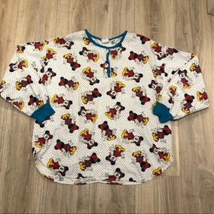 VINTAGE MICKEY MOUSE LONG SLEEVED PAJAMA TOP/SHIRT